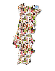 map of portugal with a lot of people portraits