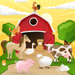 Vector illustration of farm animals infront of a barn