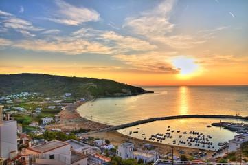 Panoramic view of Peschici. Puglia. Italy.