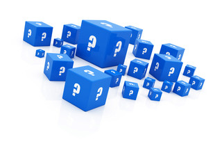 "blue ""question mark"" cubes falling"