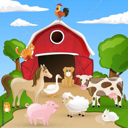 Foto op Canvas Boerderij Vector illustration of farm animals infront of a barn