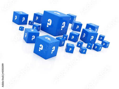 "blue ""question mark"" cubes falling"