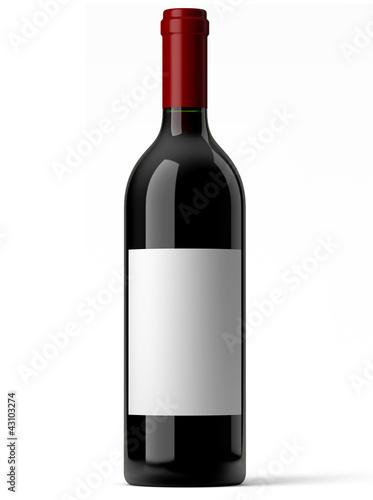 Papiers peints Vin Bouteille de vin rouge sur fond blanc 1