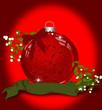 Weihnachtskarte mit Kugel und Mistelzweig