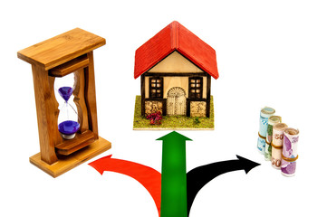 hourglass, home, money and signal