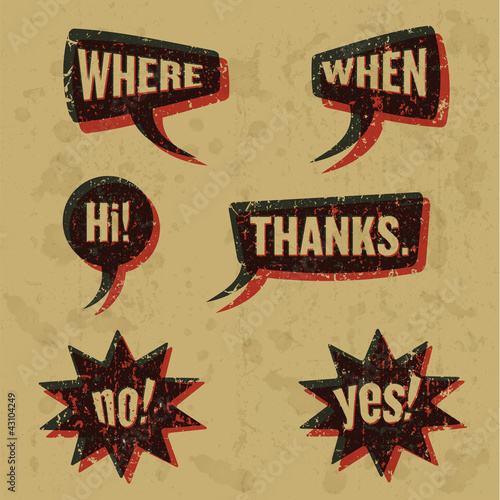 Vintage print speech bubbles words 02