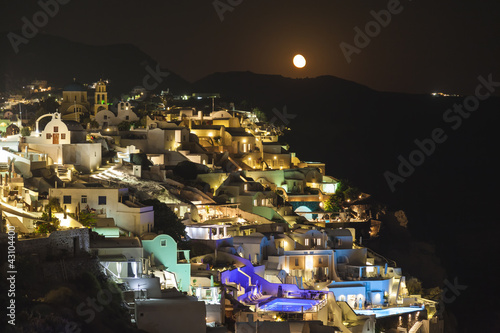 Deurstickers Volle maan Oia village ,Santorini island, Greece