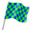 Drapeau à damier vert et bleu