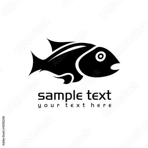 black isolated fish on white background