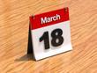 Calendar on desk - March 18th