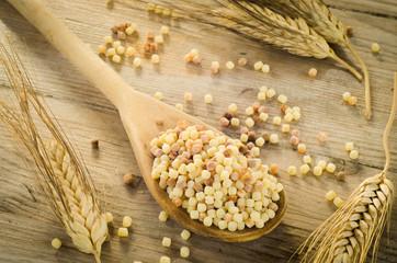 Durum wheat semolina, fregola cruda, typical sardinian pasta