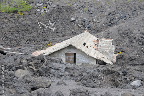 House buried under lava