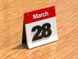 Calendar on desk - March 28th