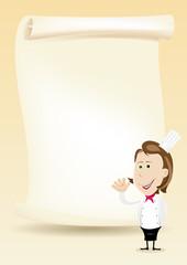 Woman Chef Restaurant Poster Menu background
