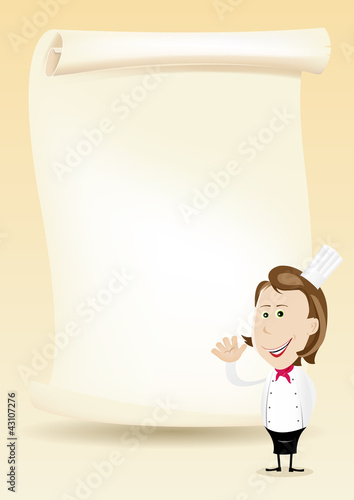 Woman Chef Restaurant Poster Menu background