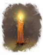 The illustration with burning candle on a dark  background.