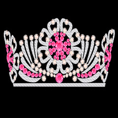 diadem crown feminine wedding with rose stone
