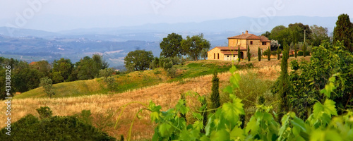 Tuscan landscape panorama in evening sun