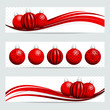3 Banner Christmas Red/Silver Christmas Balls Pattern