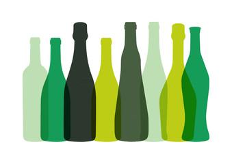 Bouteilles de Vins - Vert