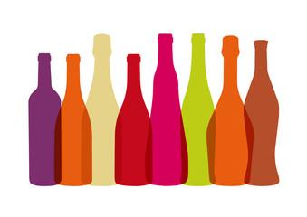 Bouteilles de Vins Multicolores