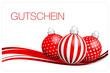 Gutschein Christbaumkugeln rot/weiß/silber