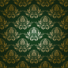 Damask seamless floral pattern. Flowers on a green background.