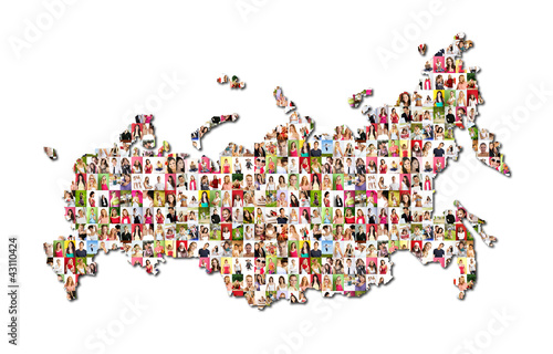 map of russia with a lot of people portraits
