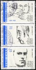 FRANCE - 1991: Poets: Francis Ponge, Jacques Prevert,  Rene Char