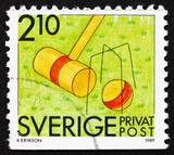 Postage stamp Sweden 1989 Croquet, Summer Sport poster