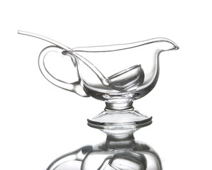 Glass sauce pot with a scoop
