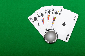 winning combination in a poker Royal Flush