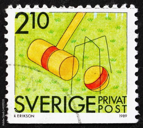 poster of Postage stamp Sweden 1989 Croquet, Summer Sport