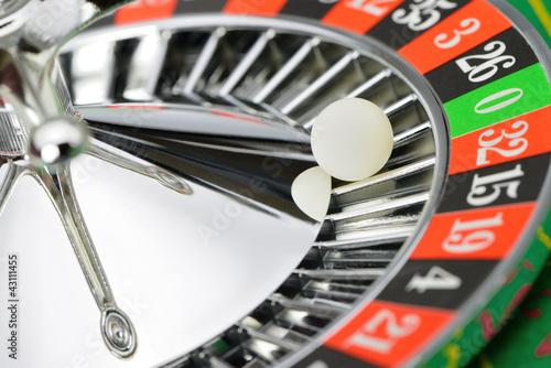 Roulette wheel in casino closeup