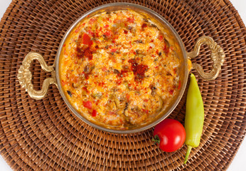 turkish food menemen on a mat