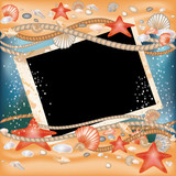 Tropical Photo frame  in style scrapbooking, vector illustration