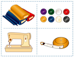Sewing machine, tape measure, fabric, buttons for tailoring, diy