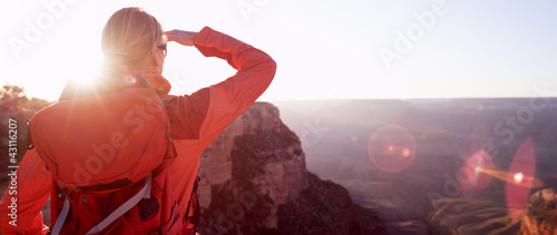 Woman Hiker Looking At Grand Canyon Arizona USA