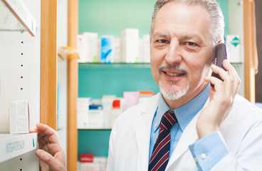 Pharmacist on the phone