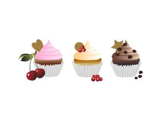 Drei cupcakes
