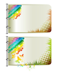 Two banners, colorful background with butterflies