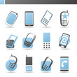 Mobile phones. Vector logo template set.