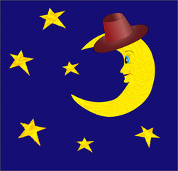 Funny half moon in hat with bright stars on night blue sky illus
