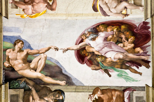 Poster Creation of Adam by Michelangelo, Sistine Chapel, Rome