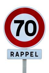 Rappel de limitation de vitesse de 70 km/h