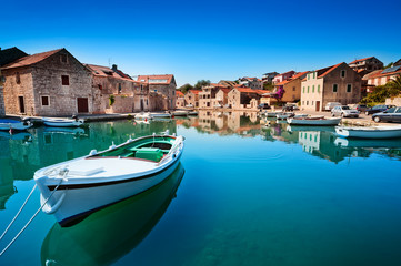 Old harbor at Adriatic sea. Hvar island, Croatia