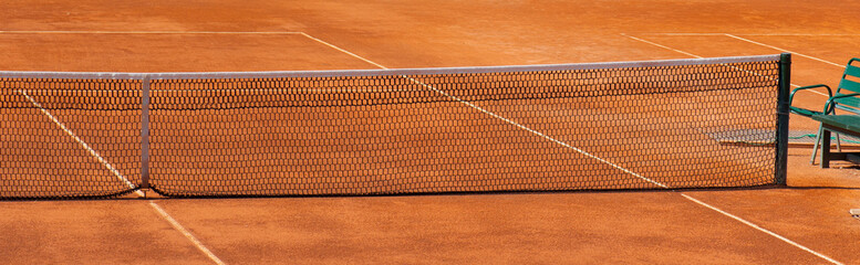 Clay tennis court detail