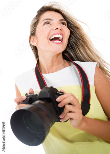 Tourist holding a camera