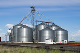 Metal grain storage silo facility