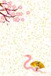 巳 桜 金粉 年賀状 扇子 背景